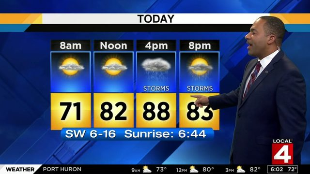 Metro Detroit weather forecast: Warm Sunday with showers and storms