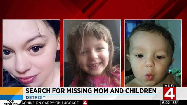 Detroit police searching for missing pregnant woman, 2 children