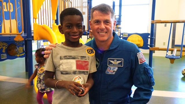 Patients at C.S. Mott Children's Hospital in Ann Arbor visited by NASA…