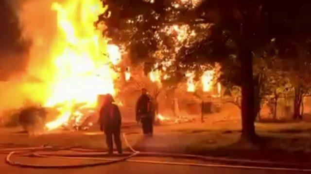 Massive fire on Detroit's east side burns down house