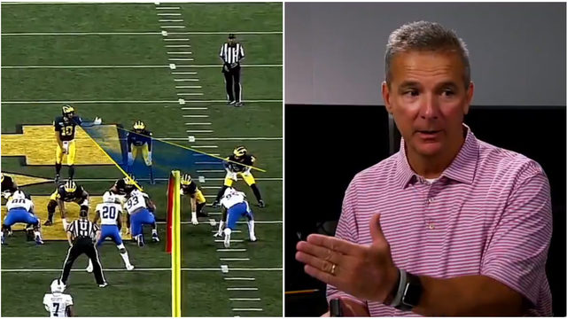 Urban Meyer praising Michigan football during offensive film session…