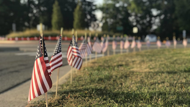 Concordia University Ann Arbor students plant flags in 9/11 tribute