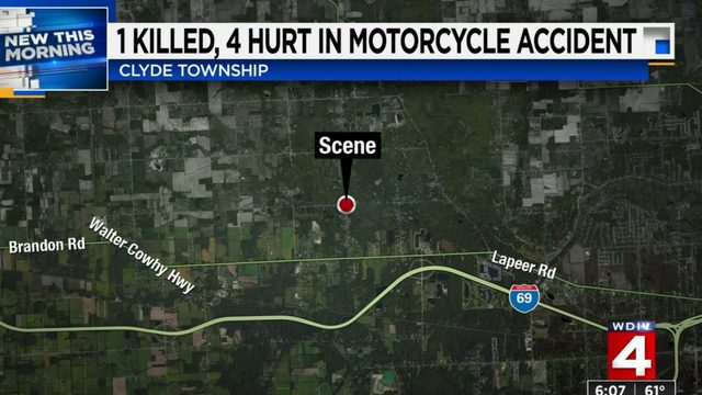 1 killed, 4 injured in St. Clair County motorcycle crash