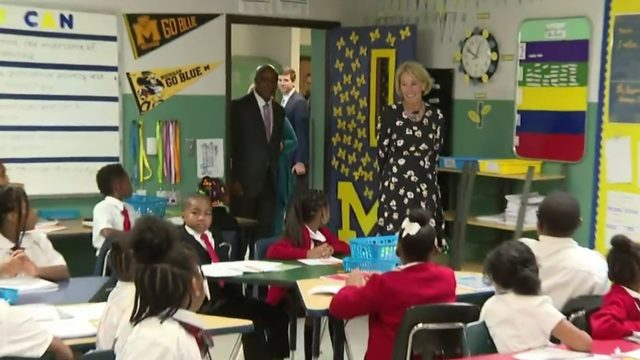 Education Secretary Betsy DeVos visits Detroit charter school