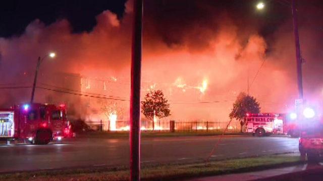 Crews battle fire ripping through senior apartment complex in Detroit