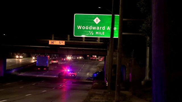 Car strikes bridge along WB 8 Mile Road between John R, Woodward Avenue