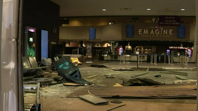 Stolen pickup truck crashes into Emagine Canton movie theatre; ATM smashed