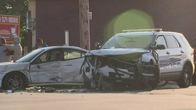 Detroit police cruiser involved in crash on city's east side