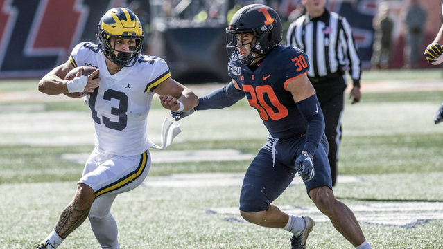 No. 16 Michigan's late surge holds off Illinois 42-25