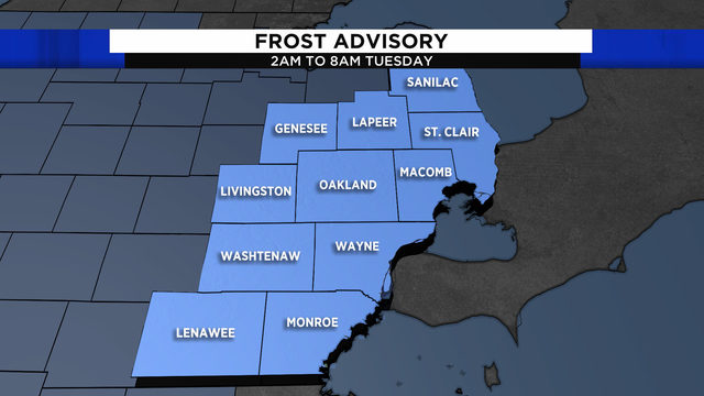 Metro Detroit weather: Frost Advisory until 8 a.m.